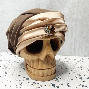 Vintage brown Velvet Satin jemmed turban B0976